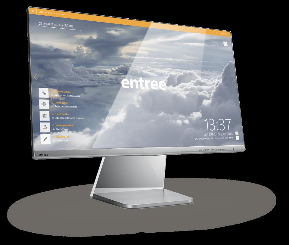meetroo entree — home screen: branding, widgets and more